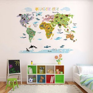 wandsticker weltkarte perfekt f r das kinderzimmer. Black Bedroom Furniture Sets. Home Design Ideas