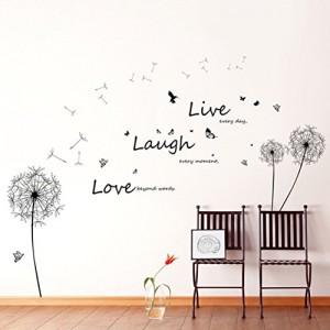 """Walplus - Riesiger Löwenzahn """"Live Laugh Love"""" Slogan Wandaufkleber Sticker"""