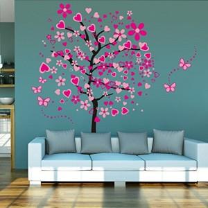 Wandtattoo Baum rosa