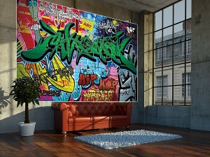 graffiti tapete street art gr e 210 x 140 cm. Black Bedroom Furniture Sets. Home Design Ideas